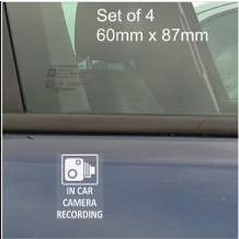 4 x In Car Camera Recording Stickers-CCTV Security Sign-Car,Door,Tinted,Window,Taxi,60,mm,87,mm